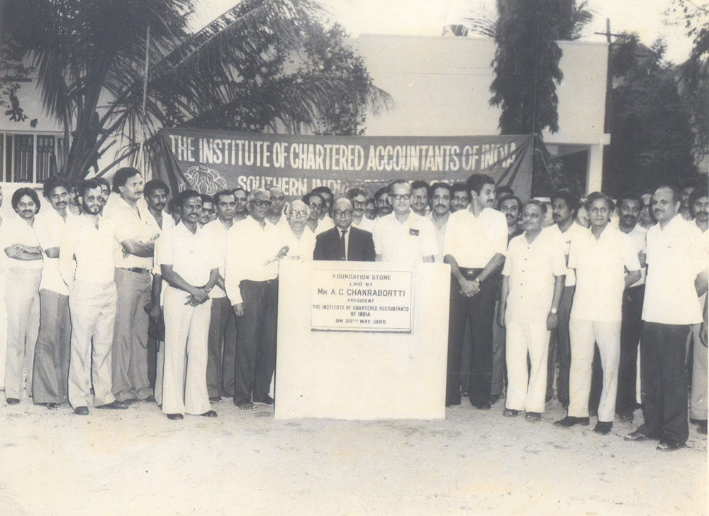Foundation Stone laid by CA.A.C.Chakrabortti, President ICAI on 20th May 1985