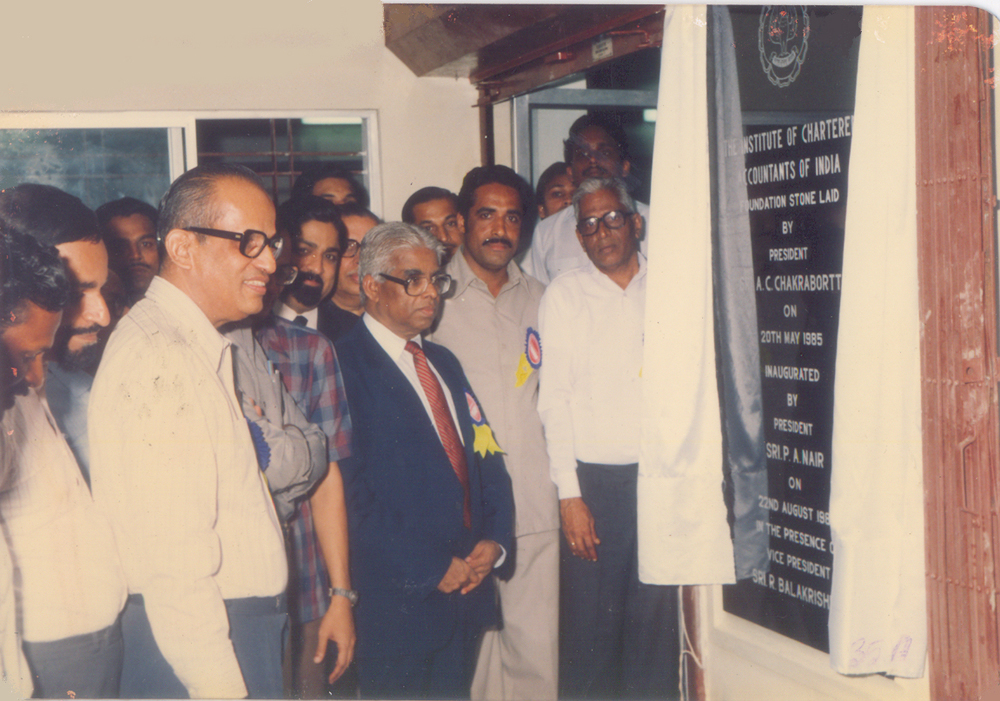CA.P.A.Nair, President, ICAI inaugurating the Branch building on 22nd August 1988
