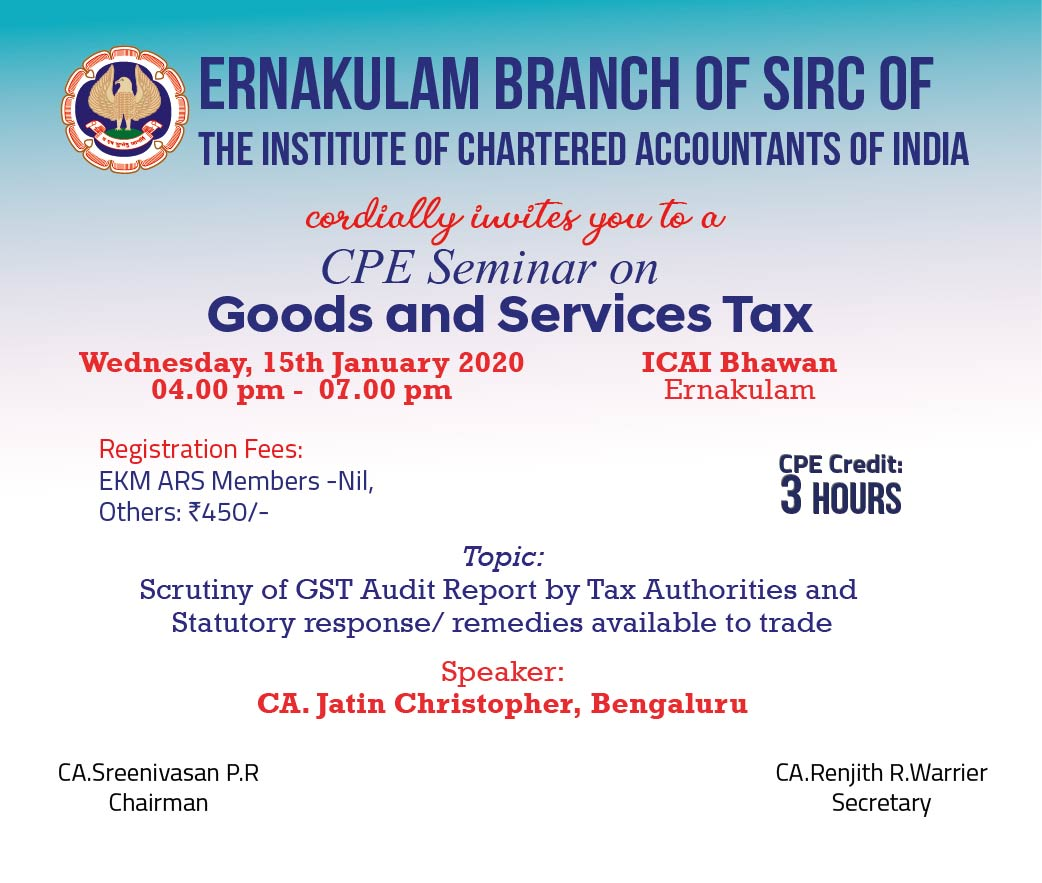 CPE Seminar on Goods & Services Tax