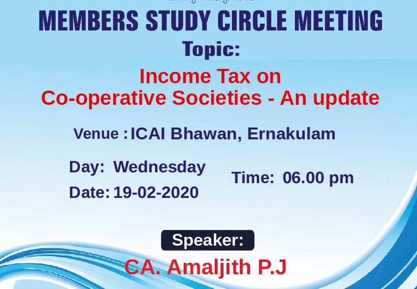Members Study Circle Meeting on Income Tax on Co-operative Societies - An update