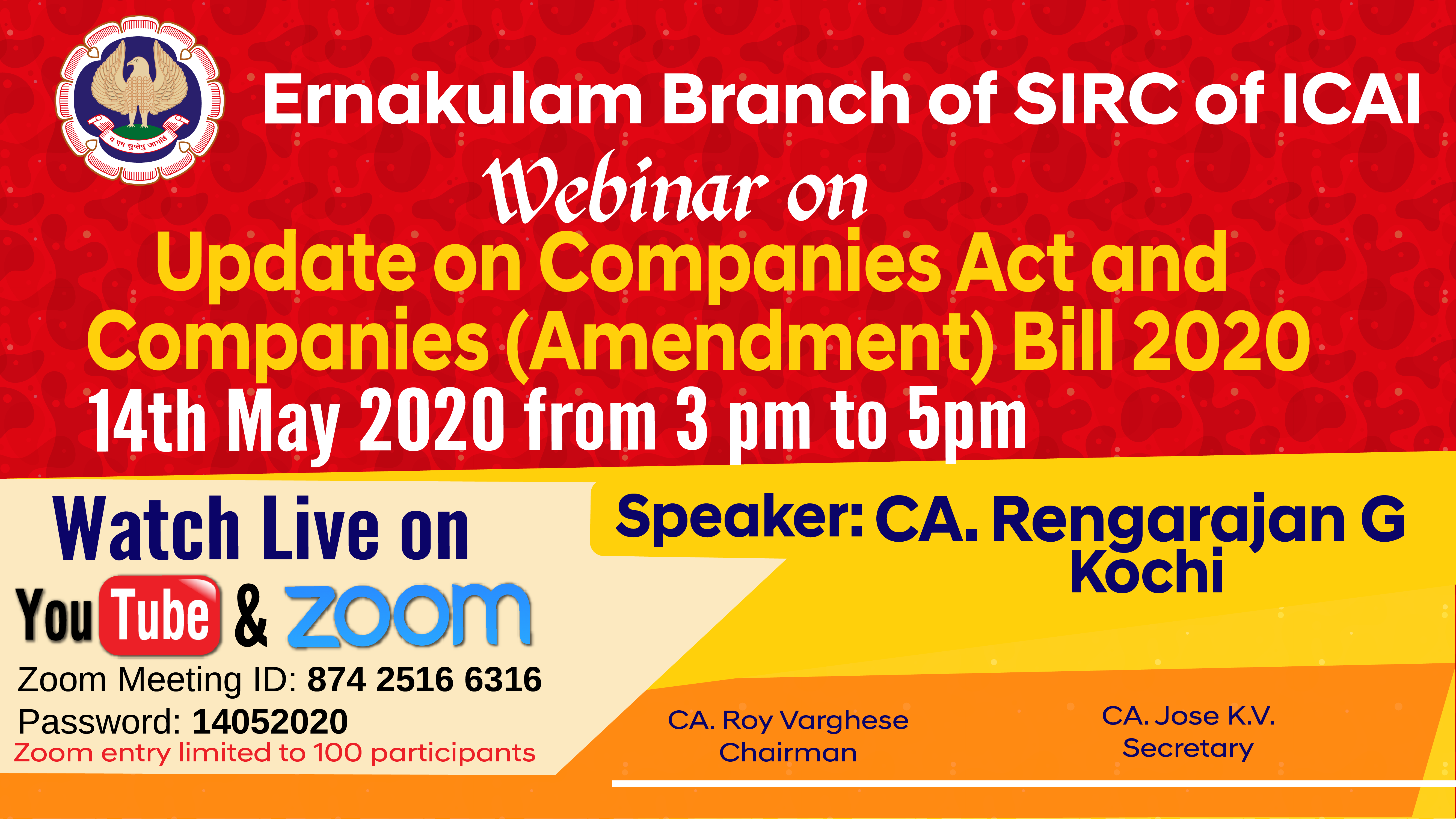 Webinar on Update on Companies Act and  Companies (Amendment) Bill 2020