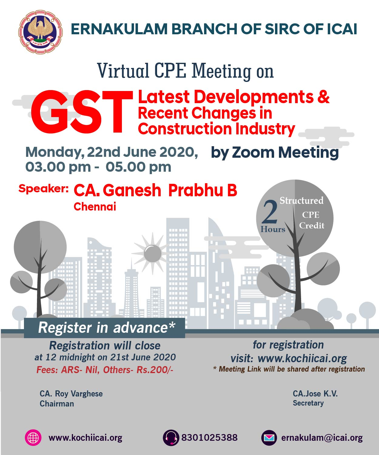 Virtual CPE Meeting on GST -Latest Developments & Recent Changes in Construction Industry