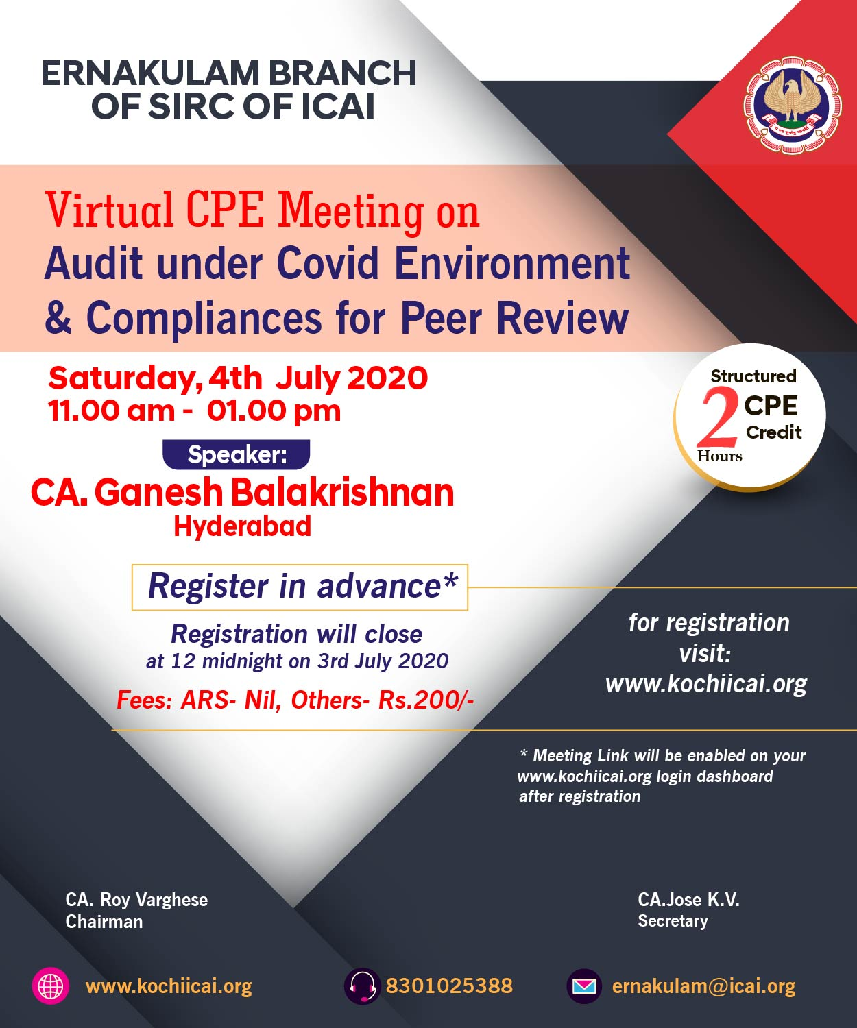 Virtual CPE Meeting on Audit under Covid Environment & Compliances for Peer Review