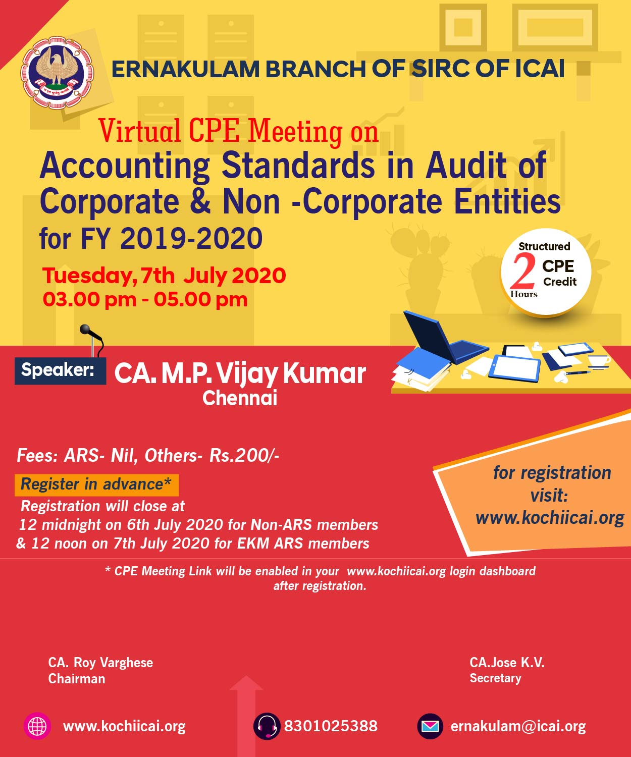 Virtual CPE Meeting  on Accounting Standards in Audit of Corporate & Non -Corporate Entities  for FY 2019-2020