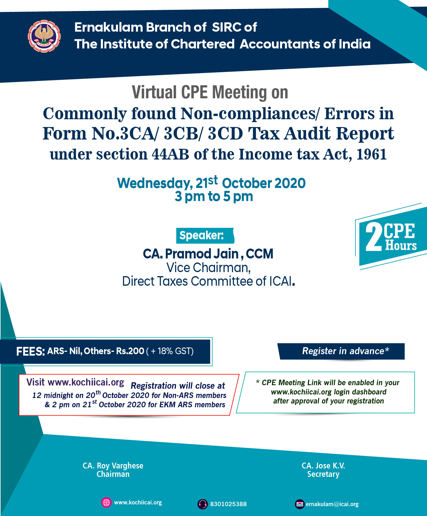 Virtual CPE Meeting on Commonly found Non-compliances/ Errors in Form No.3CA/ 3CB/ 3CD Tax Audit Report under section 44AB of the Income tax Act, 1961