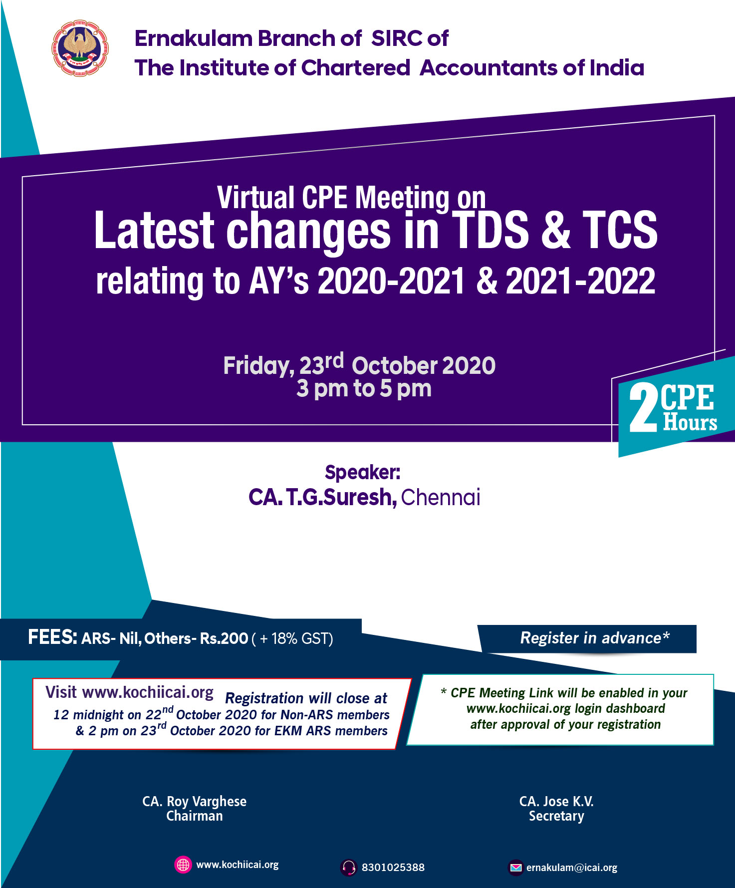 Virtual CPE Meeting on Latest changes in TDS & TCS relating to AY's 2020-2021 & 2021-2022
