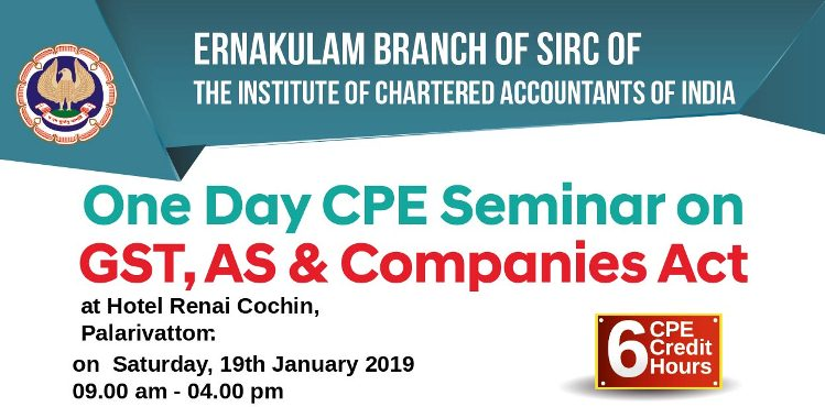 One Day CPE Seminar on GST, AS & Companies Act