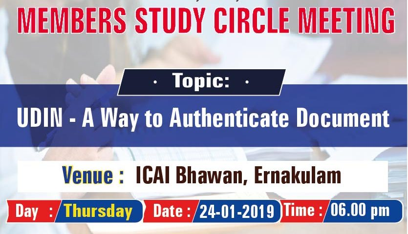 Members Study Circle Meeting on UDIN-A Way to Authenticate Document