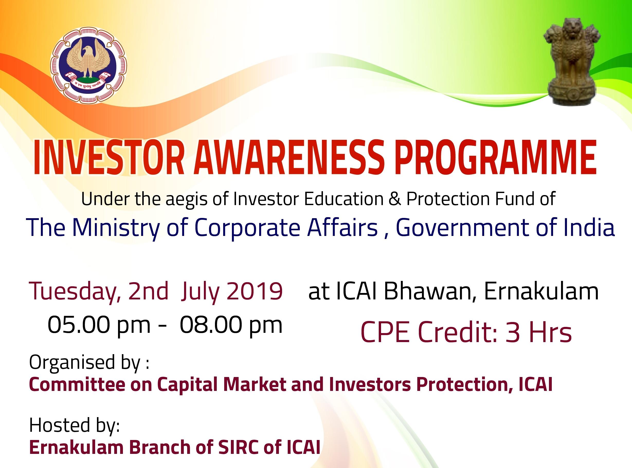Investor Awareness Programme at ICAI Bhawan,EKM