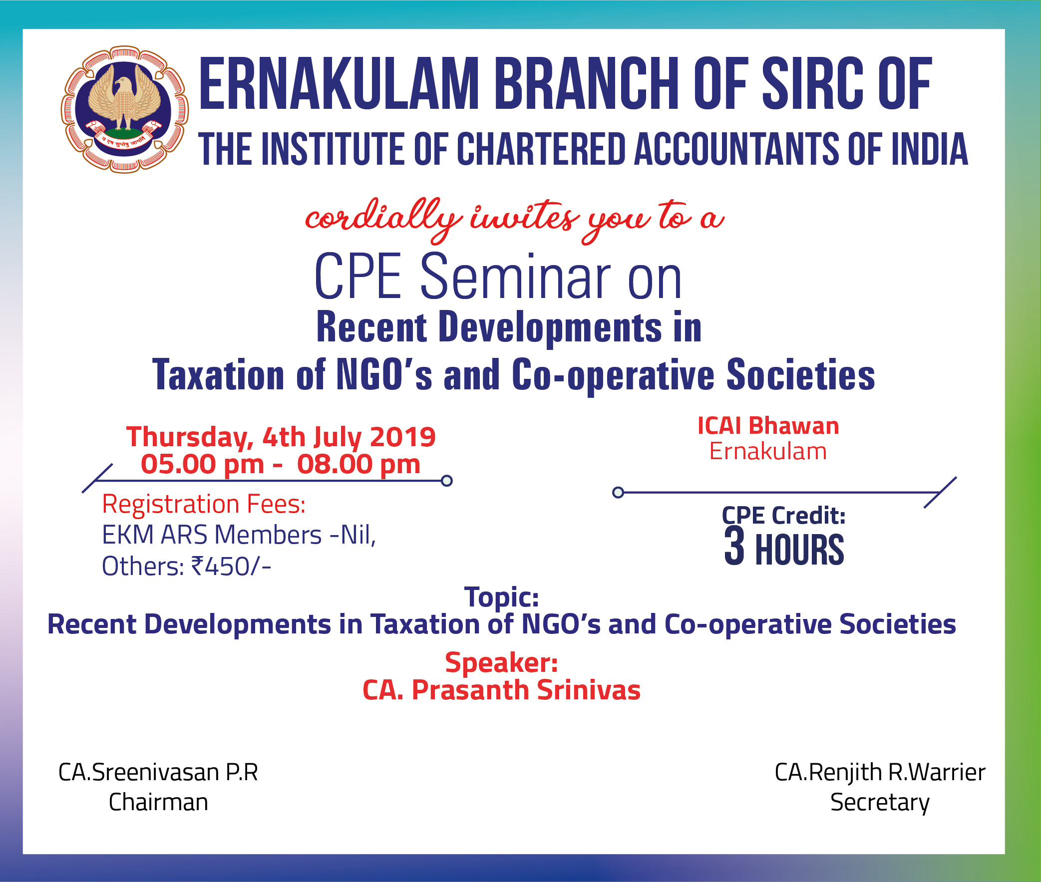 CPE Seminar on Recent Developments in Taxation of NGO's and Co-operative Societies