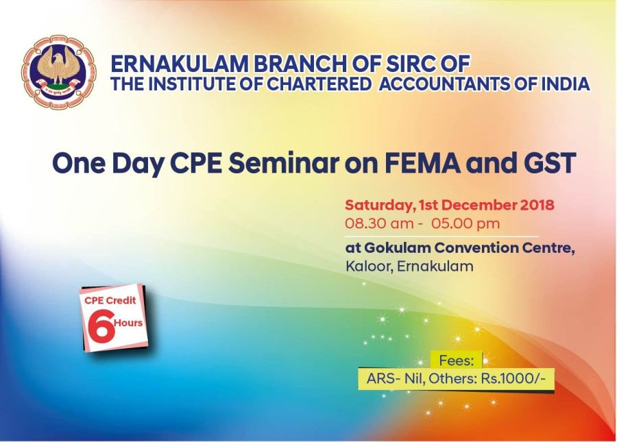 One Day CPE Seminar on FEMA and GST